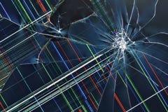 Cracked broken display background. Cracked broken large liquid crystal TFT RGB TV display royalty free stock images