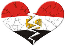 Cracked and broken Egypt flag Stock Photos
