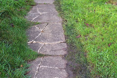 Cracked or broken garden path. Royalty Free Stock Photo