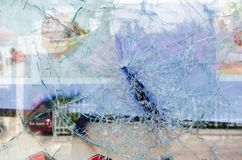 Cracked and broken glass window Royalty Free Stock Image