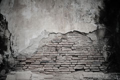 cracked cement and old brick wall Stock Photo