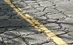 Cracked cement road Stock Photos