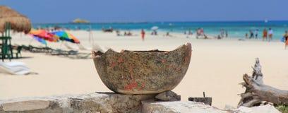 Cracked Ceramic Pot. Overlooking Beach Royalty Free Stock Photo