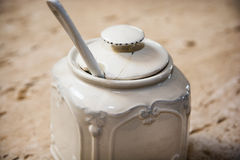 Cracked ceramic sugar bowl Stock Image