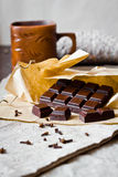 Cracked chocolate bar with spices Royalty Free Stock Images
