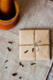 Cracked chocolate bar with spices Stock Images