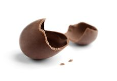 Cracked chocolate egg Stock Photos