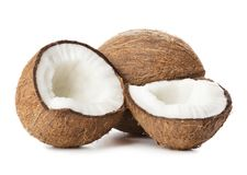 Free Cracked Coconut Isolated Stock Photography - 123616642