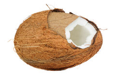 Cracked Coconut Isolated on White Background Royalty Free Stock Image