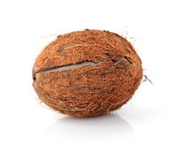 Cracked coconut. Studio shot of cracked coconut  on white Royalty Free Stock Image