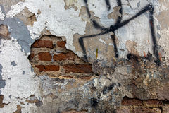 Cracked concrete and brick wall background Royalty Free Stock Photo