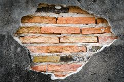 Cracked concrete  brick wall background Stock Photos