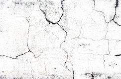 Cracked concrete old while wall background Royalty Free Stock Photo