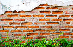Cracked concrete showing aged brick wall Royalty Free Stock Photos