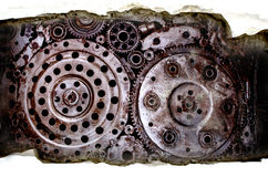 Cracked concrete texture with Old dirty metal wheel gear wel Stock Image