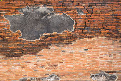 Cracked concrete  vintage brick wall background. Stock Images