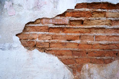 Cracked concrete vintage brick wall. Background Royalty Free Stock Image