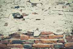 Cracked concrete vintage brick wall background Royalty Free Stock Photos