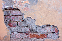 Cracked concrete vintage brick wall background. Texture grunge Stock Photos