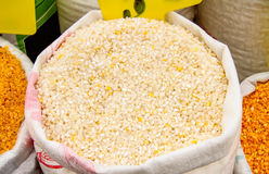 Cracked Corn Kernels In A Sack Stock Photo