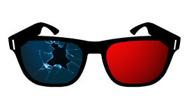 Cracked 3D Glasses Stock Photo