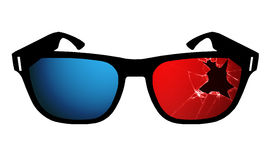 Cracked 3D Glasses Royalty Free Stock Photos