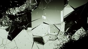 Cracked and damaged glass pieces on black. Large resolution Stock Photo