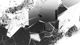 Cracked and damaged glass pieces on white. Large resolution Royalty Free Stock Images