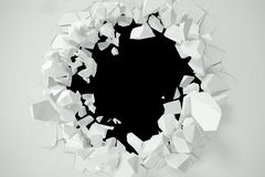 Cracked, destruction of a white wall, template for a content. 3d rendering Royalty Free Stock Photos