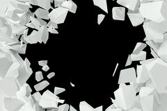 Cracked, destruction of a white wall, template for a content. 3d rendering Stock Photo