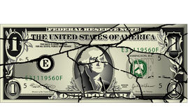 Cracked dollar bill Royalty Free Stock Photos