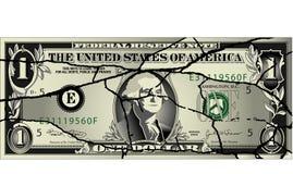 Cracked dollar bill vector illustration