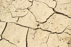 Cracked Dry Earth Top View. As drought and global warming concept. Broken clay soil texture with cracks on surface royalty free stock image
