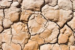 Cracked Dry Ground. Dry cracked desert ground on a dry lakebed Stock Images
