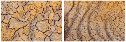 Cracked dry soil hot arid dirt collage. The eroded desert dry arid clay sand dirt soil ground has patterns and texture for backgrounds erosion collage Royalty Free Stock Photography