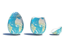 Cracked eart. An illustration of egg-shaped earth cracked Stock Photos