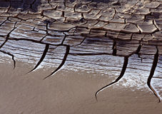 Cracked earth. A close up of dry and cracked earth on atacama desert royalty free stock image