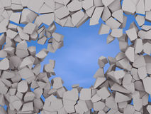 Cracked earth abstract background on blue sky Royalty Free Stock Photo