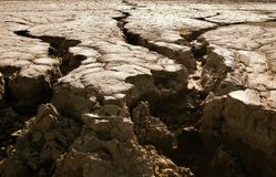 Cracked earth close-up. Close-up of earth cracked because of drought Royalty Free Stock Photos
