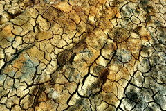 Cracked earth. Colored dried cracked dirt field Stock Photos