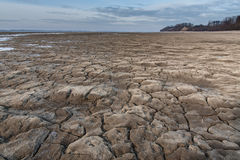 Cracked earth and dried lake Royalty Free Stock Images