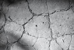 Cracked earth. Dry cracked earth texture black and white Stock Photo