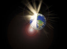Cracked earth and light beam and disastrous Concept Stock Image