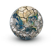 Cracked earth planet isolated on a white background Stock Images