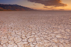 Cracked earth in remote Alvord Desert, Oregon, USA at sunrise. Cracked earth in the Alvord Playa, a dry lakebed in the Alvord Desert in southeastern Oregon, USA royalty free stock images