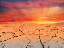 Cracked earth on sunset. Royalty Free Stock Photos