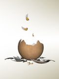 Cracked egg. With feathers in gradient background vector illustration
