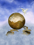 Cracked egg. In the sky with dove stock illustration