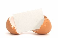 Cracked Egg with Blank Card #1 Royalty Free Stock Images