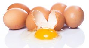 Cracked egg. Close up of cracked egg Stock Image